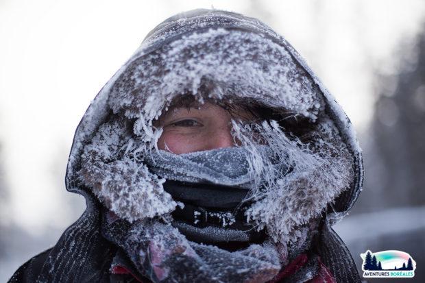 Claire au retour du chiens de traineau, par -28°c